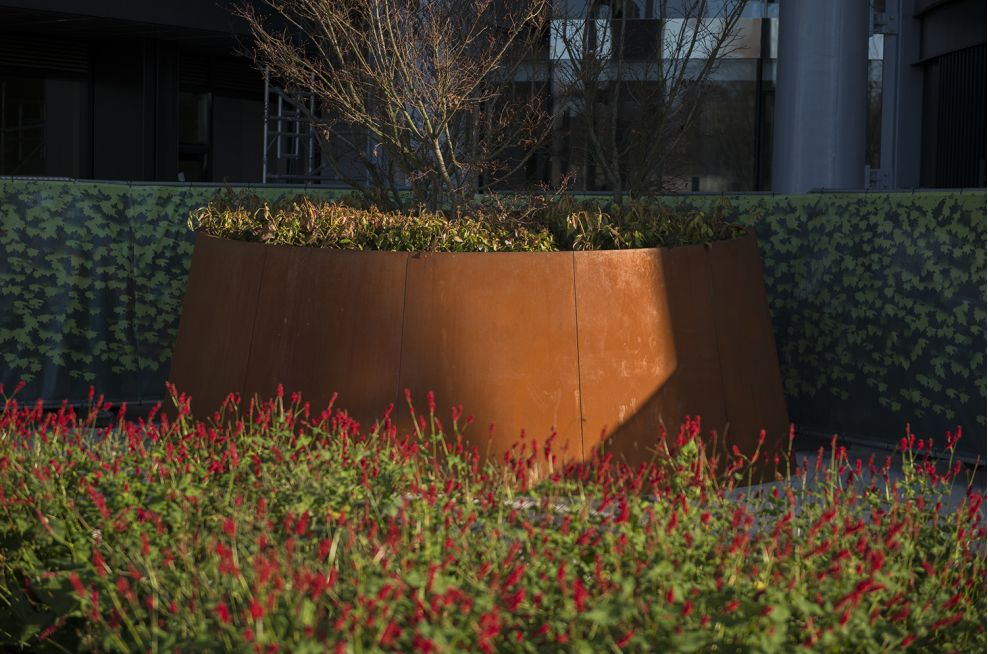 Cone-shaped Corten Steel planters