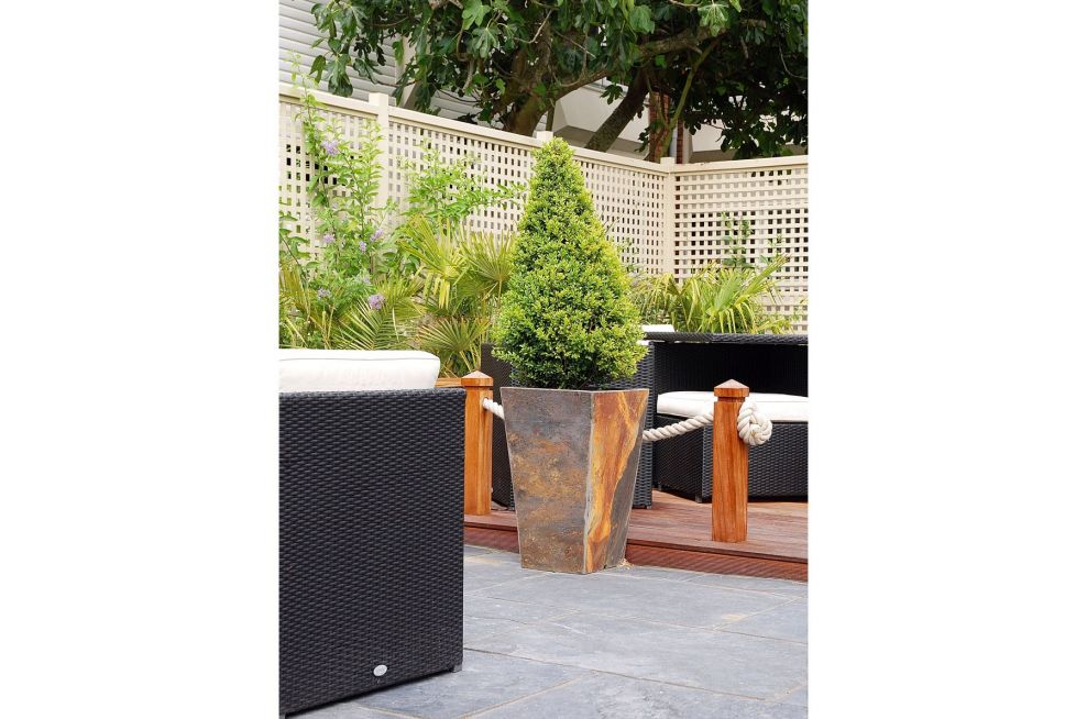 Slate Tall Taper Planters On Paved Areas