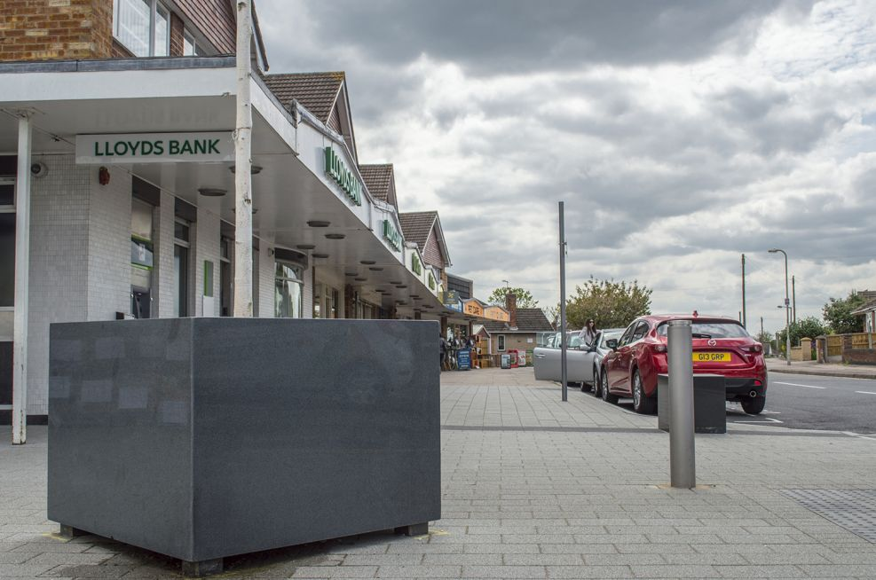Cube Shaped High Street Granite Tree Planters