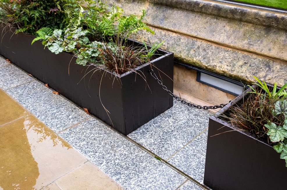Planters used for pedestrian barrier