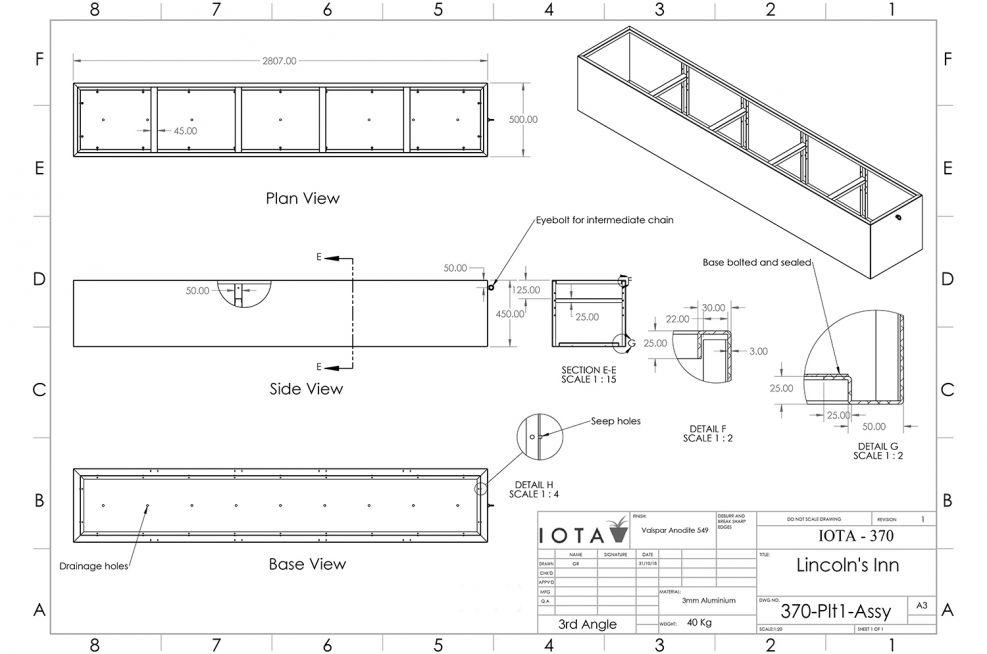 Powder Coated Planter CAD design