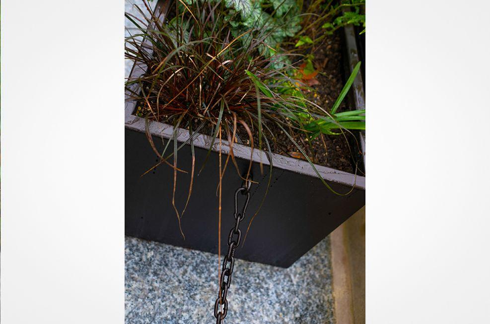 Metal planter safety barrier