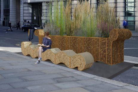 bespoke corten steel planters and benches for public realm