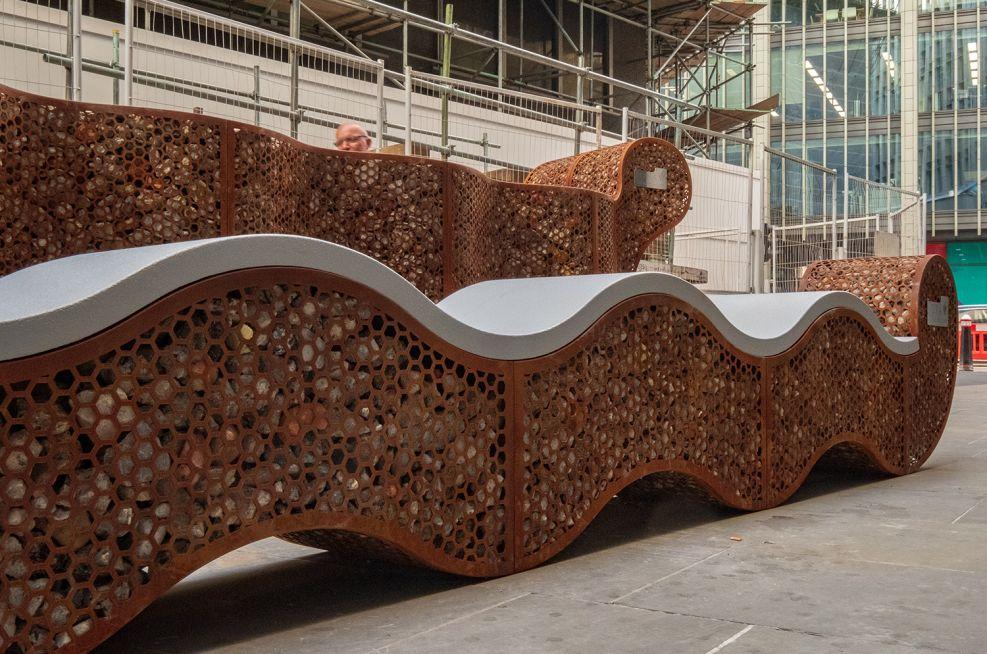 Corten Gabion Style Planter Bench