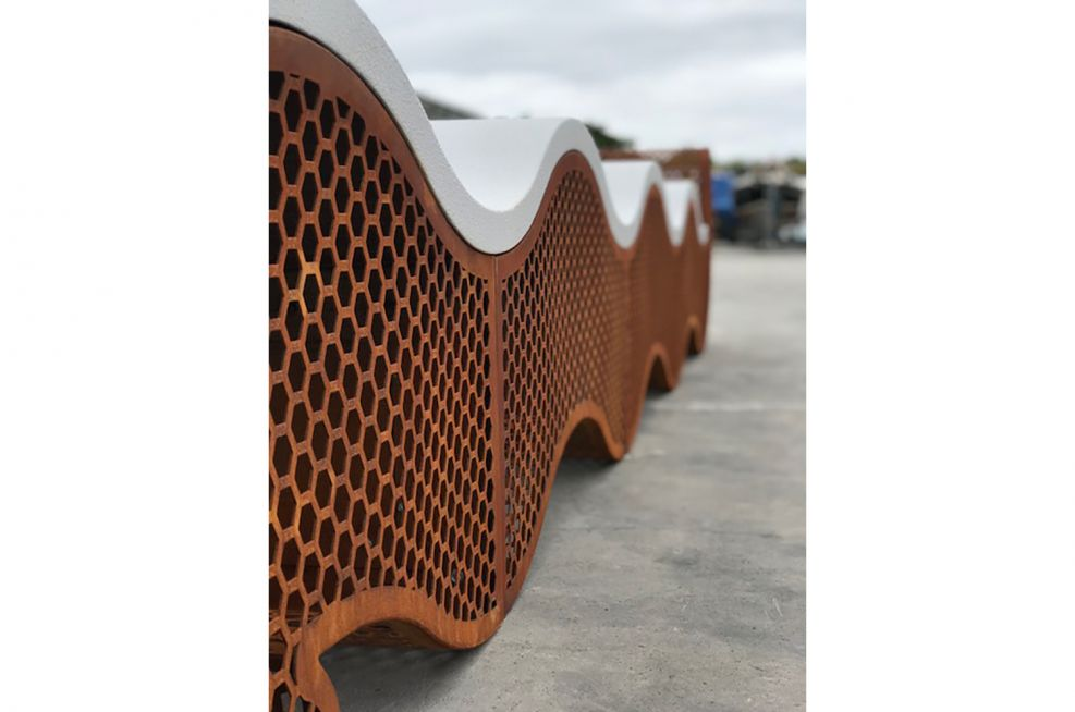 Public Realm Corten Steel Bench