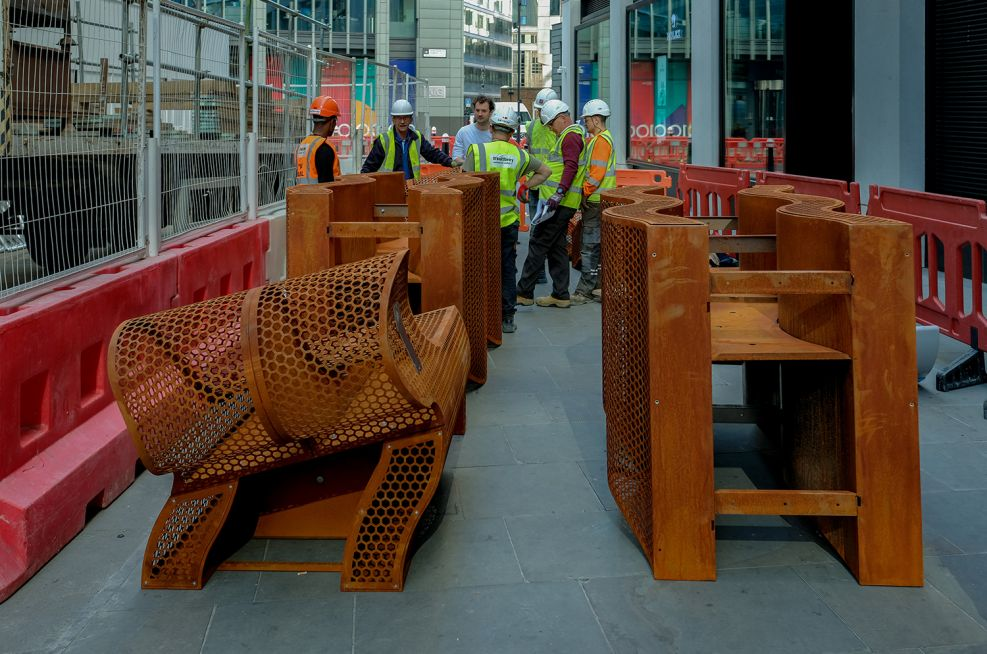 Corten Steel Public Bench and Planters