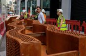 Custom Manufactured Corten Steel Public Realm Planter Bench