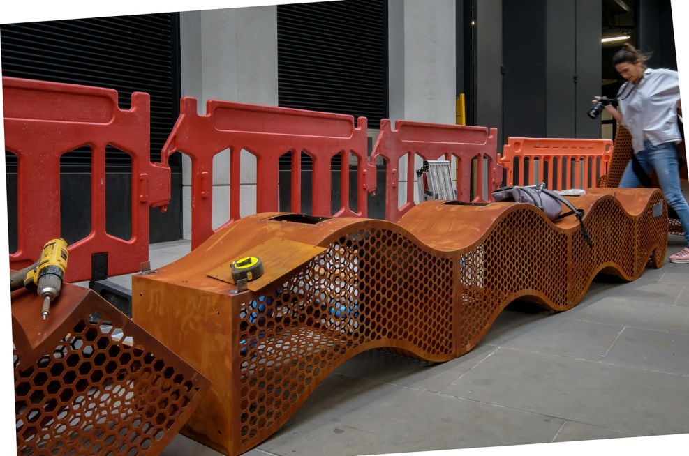 Corten Steel Gabion Planter and Bench
