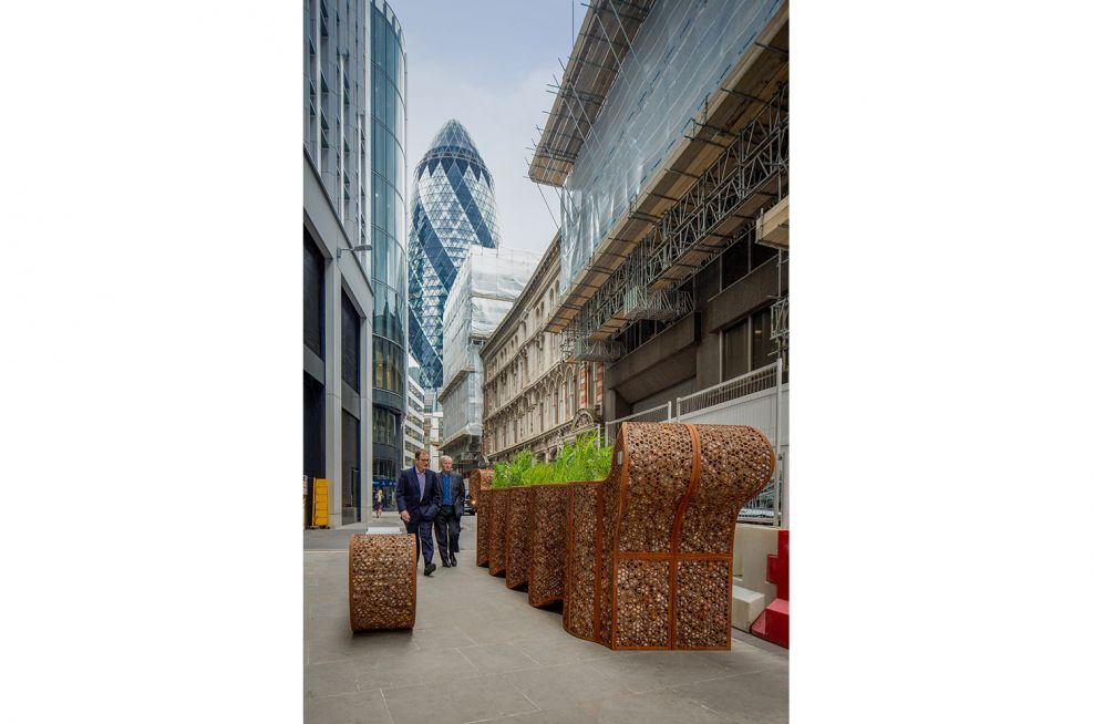 Corten Steel Planter and Benches in London