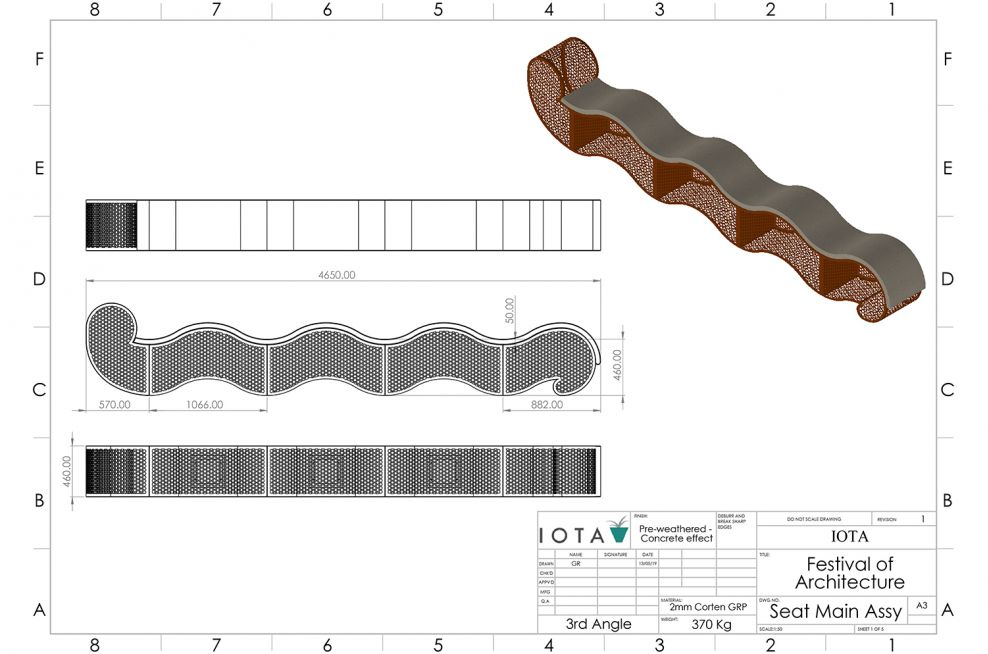 Corten Steel Gabion Planter CAD Design