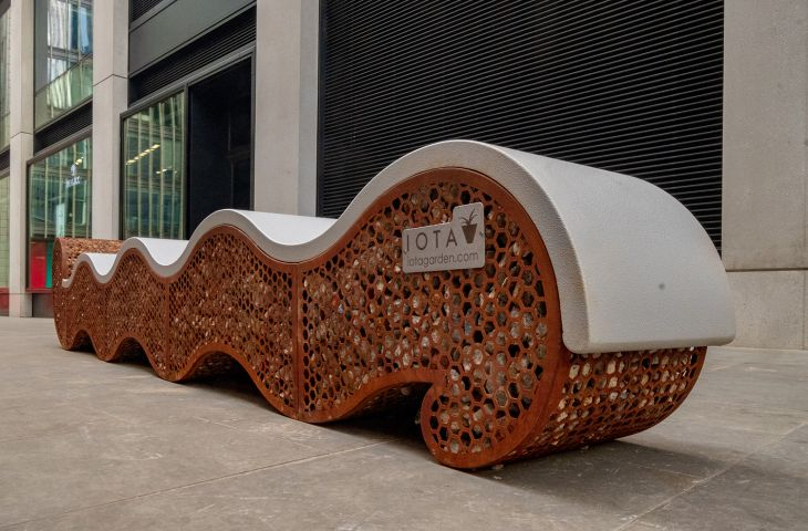 bespoke corten steel benches for public realm