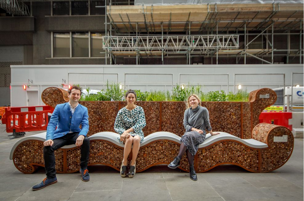 London Festival of Architecture Rocks and Reeds custom parklet planter