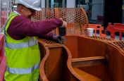 Extra Large Corten Steel Planter Installation