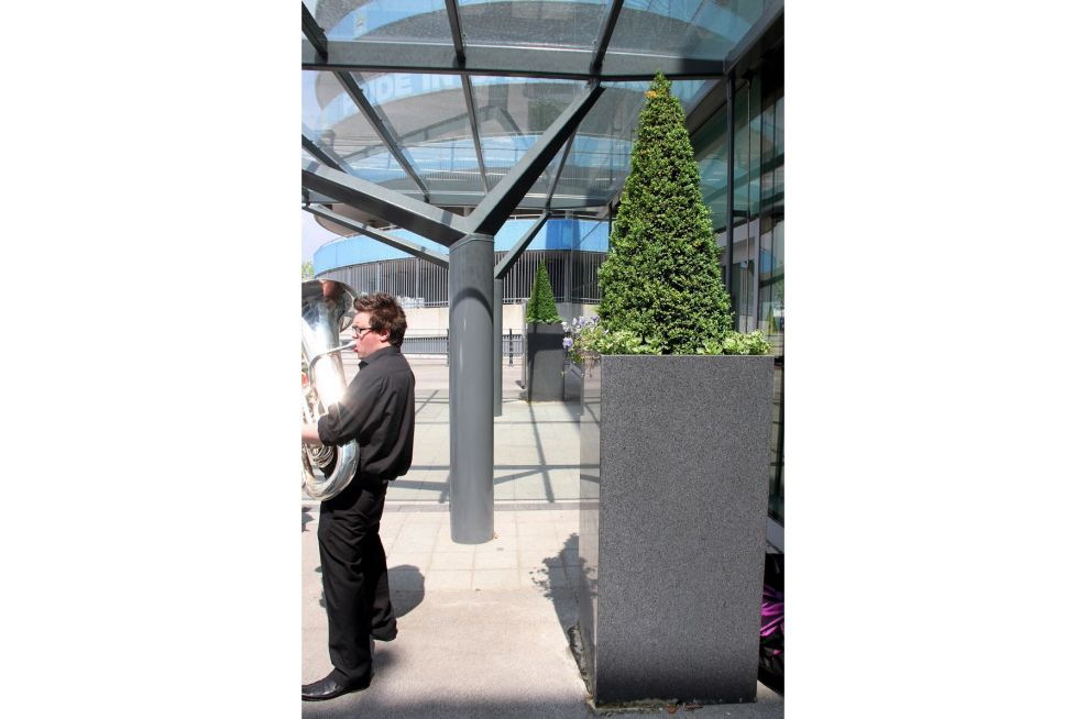 Stainless Steel Planters At The Ciry Of Manchester Stadium