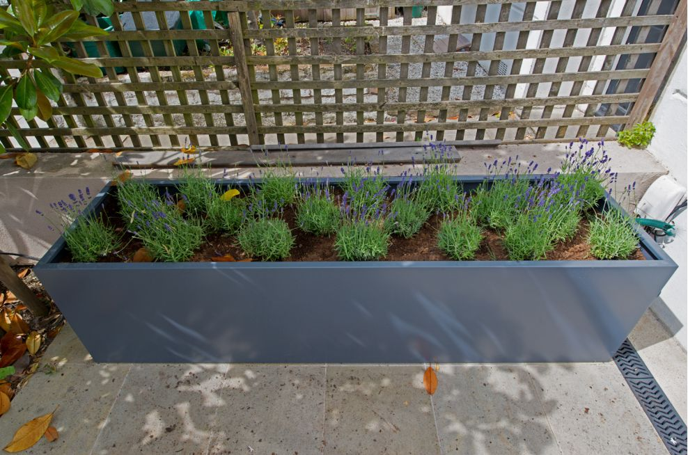 Powder Coated Planters In Slate Grey