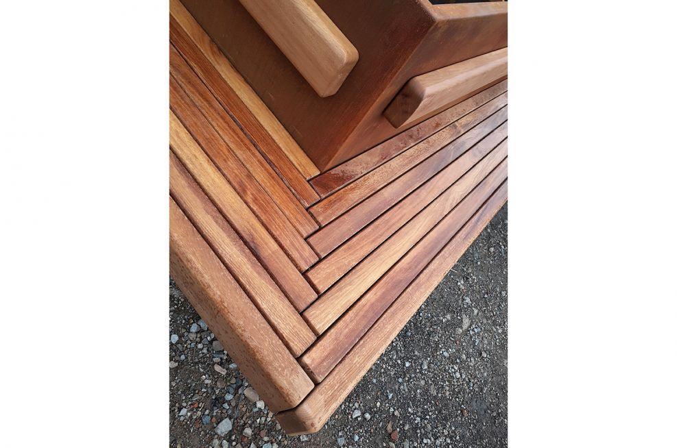 Street bench seating corner detail