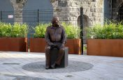 Big Tom McBride public statue landscaping