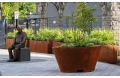 Corten streetscape planters and containers