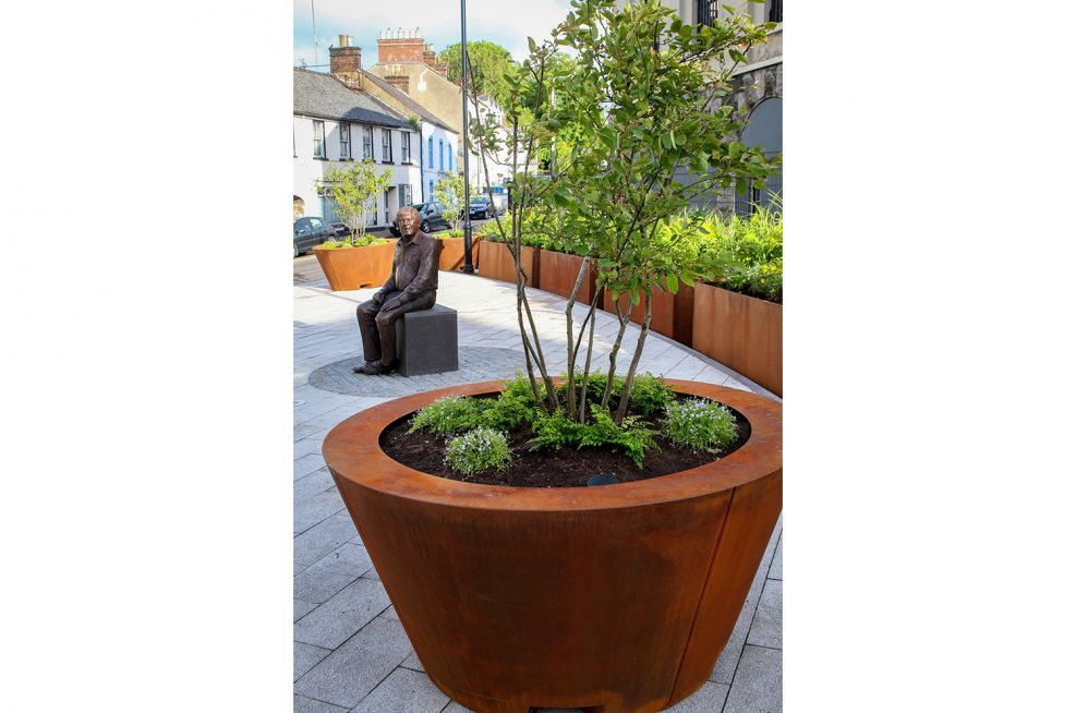 Custom weathered corten planters