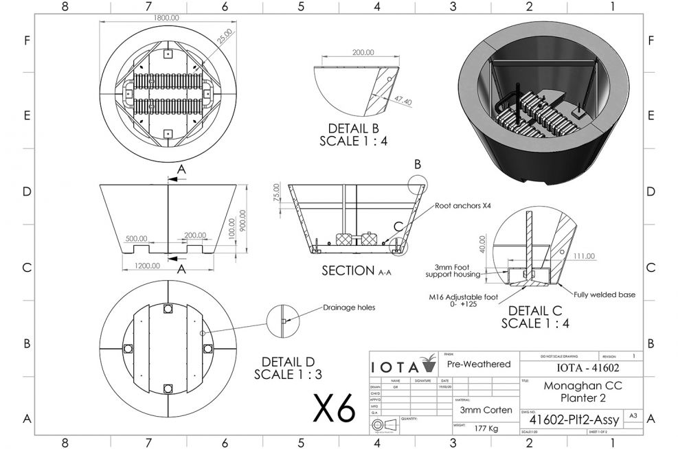 Movable conical tree planter CAD design