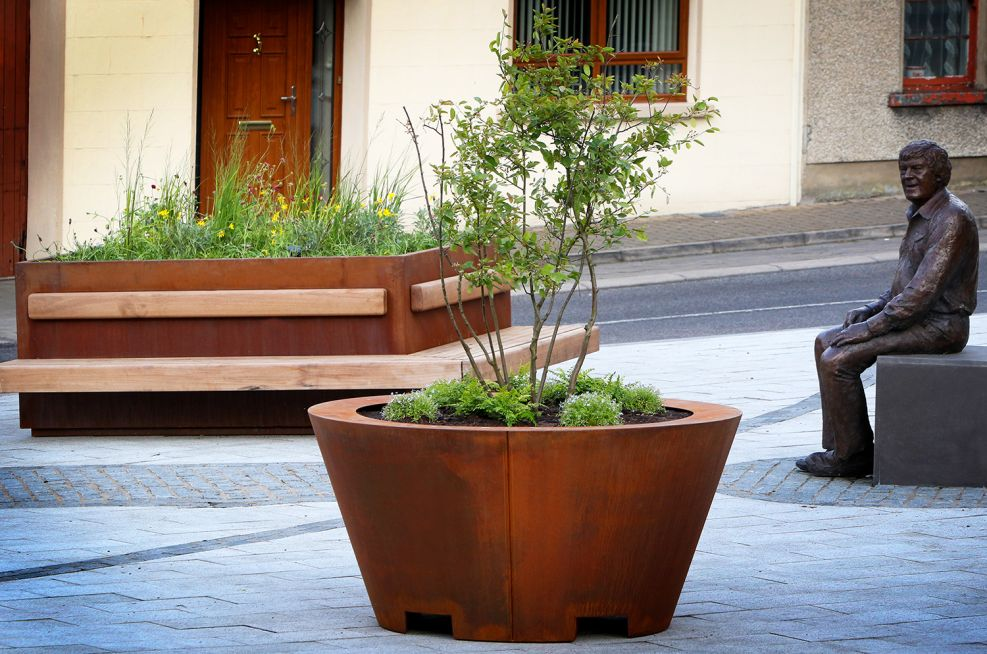 Corten steel planter and timber bench