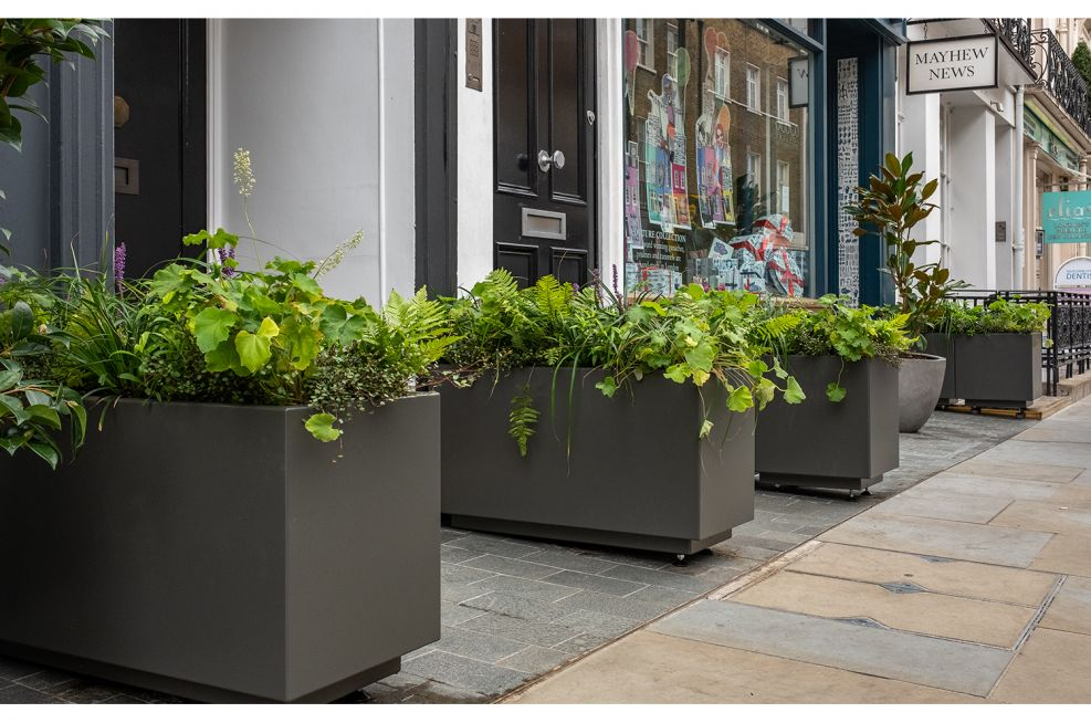 aluminium planters for luxury retail