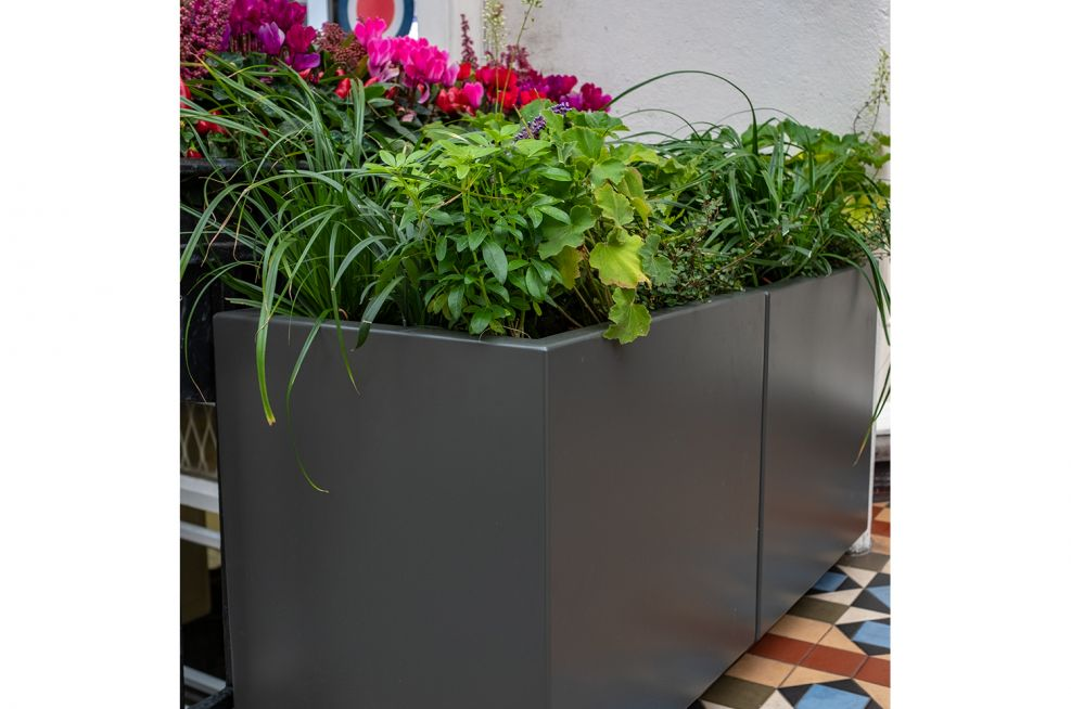 Outdoor planters in umbra grey RAL7002