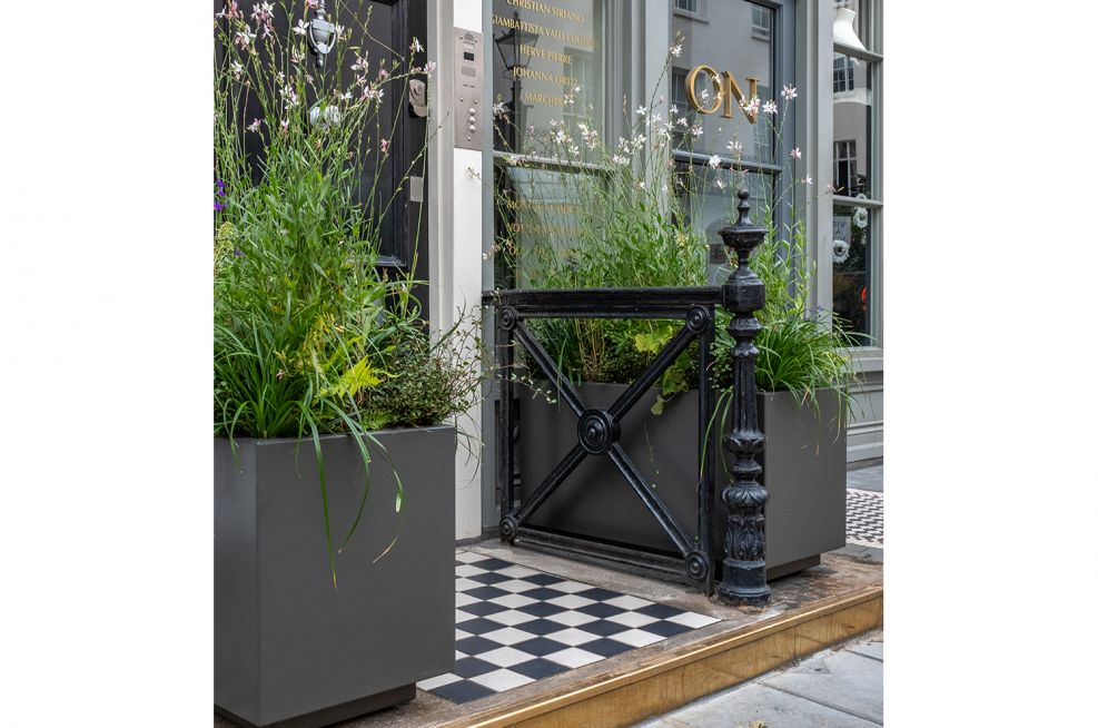 street level rectangular planters