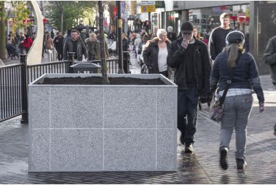 IOTA Bespoke Steel and Granite Planters Northants Highways, Abington Street, NN1