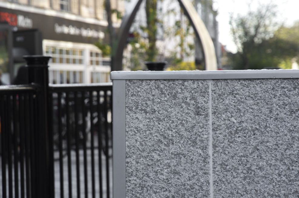 Granite Cladding On a Steel Planter Frame