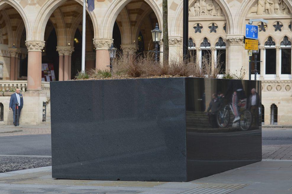 External Bespoke Large Granite Planters At Guildhall Road
