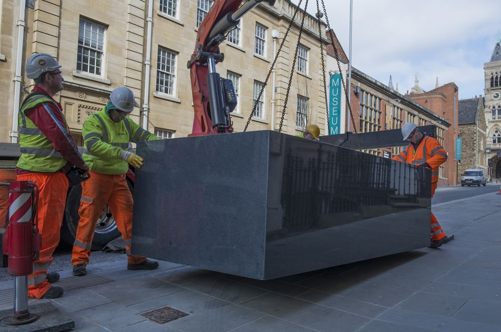 Installation Of One Of The Larger Planters