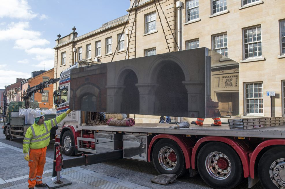 IOTA Installing The Largest Granite Planter