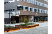 Corten steel planters and public seating