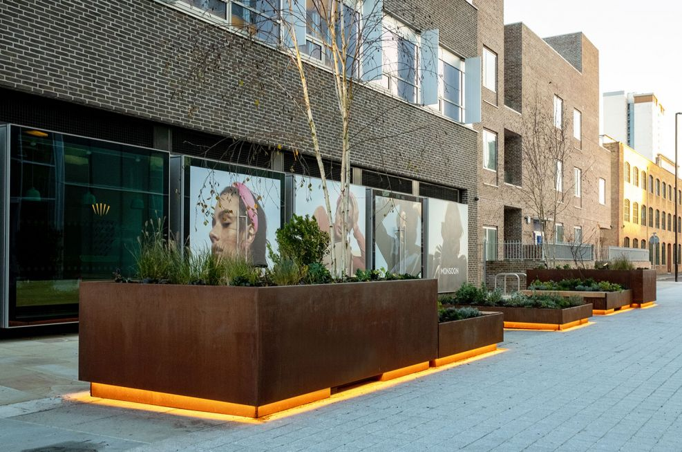 Corten planters with LED underlighting