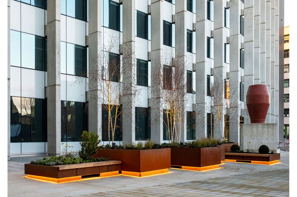 Large steel planters integrated seating