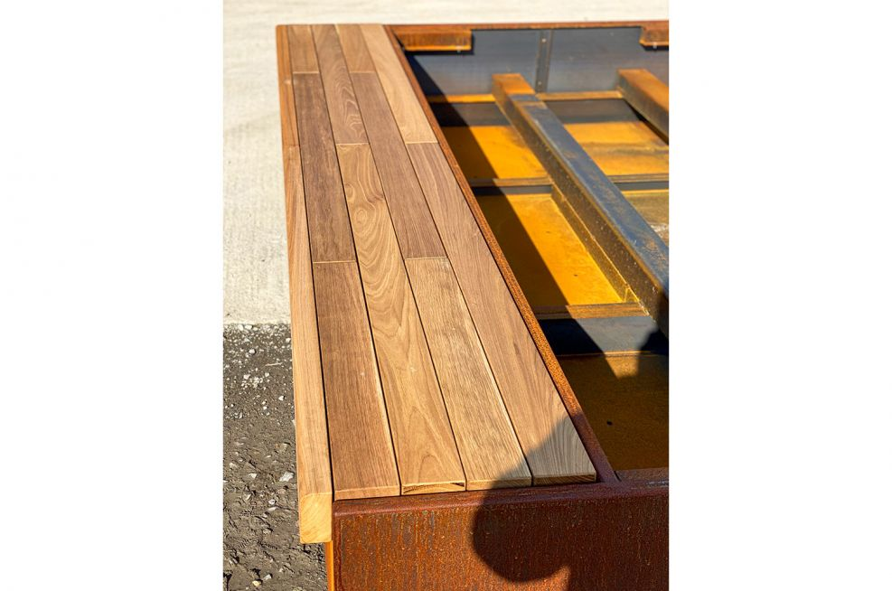 Timber seating for steel planter