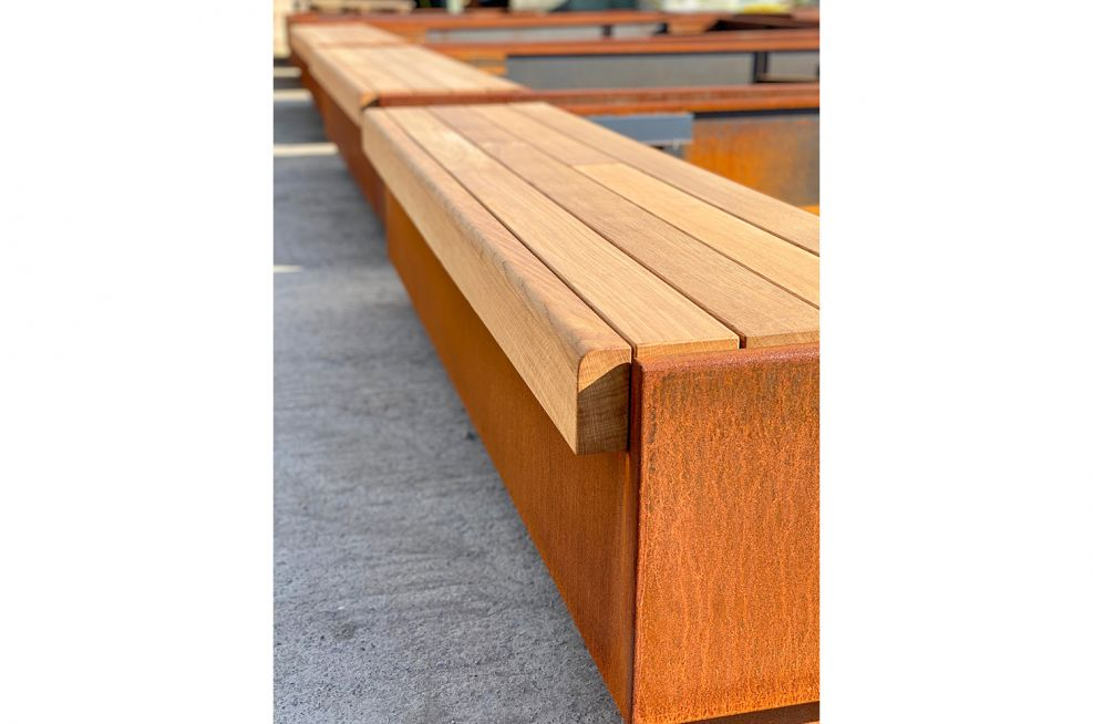 Corten steel planter timber bench