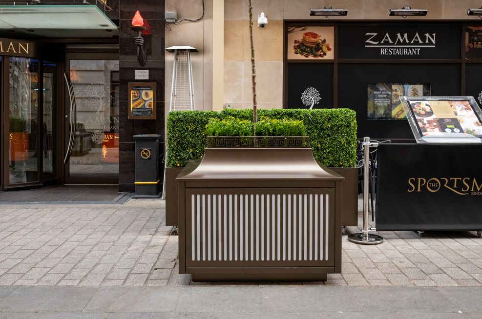 Decorative LED street planters with powder coating