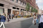 Decorative tree planters for public retail spaces