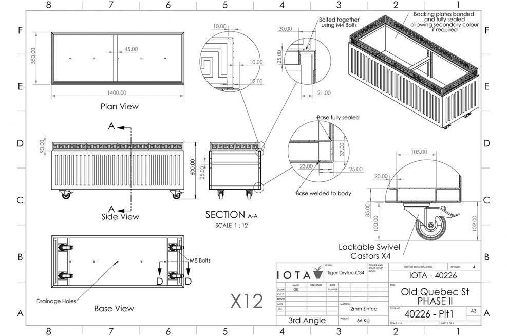 Movable trough planter decorative CAD design