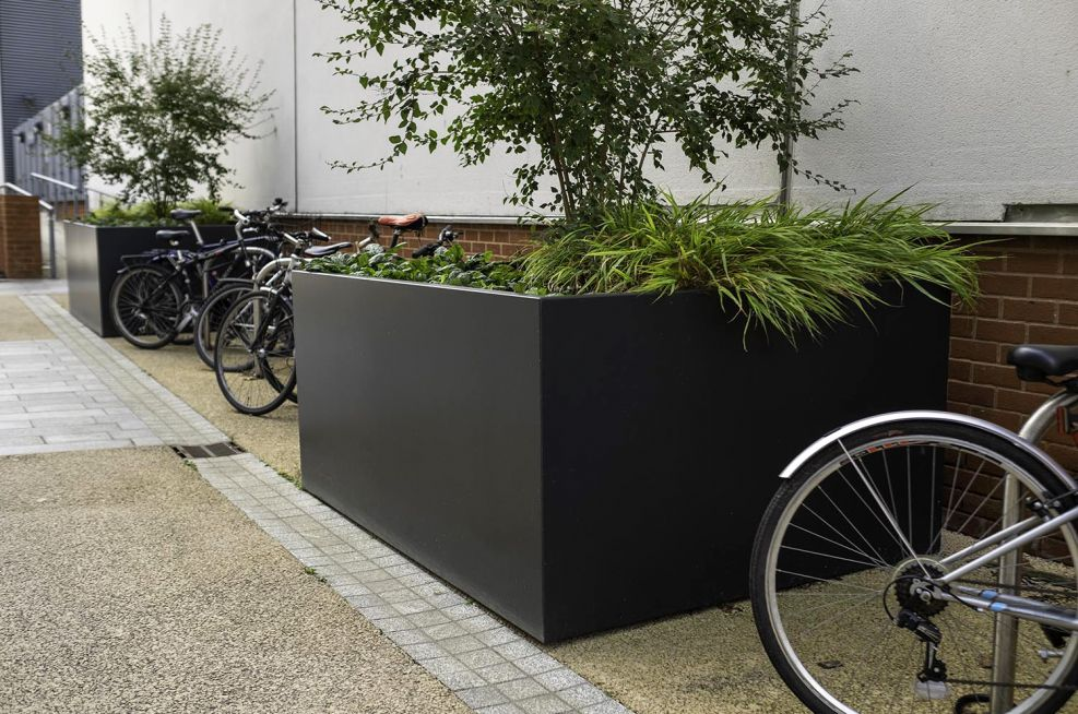 Large rectangular planters for shrubs