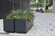 steel planters with shadow gap plinth