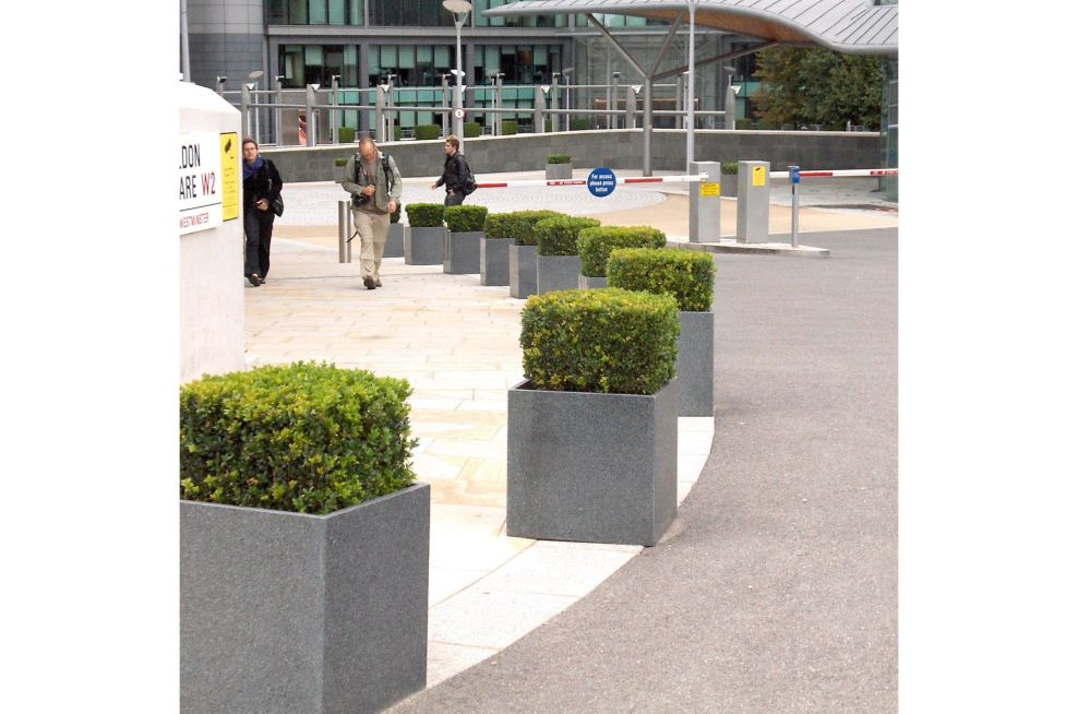 External Business and Residential Granite Cube Planters
