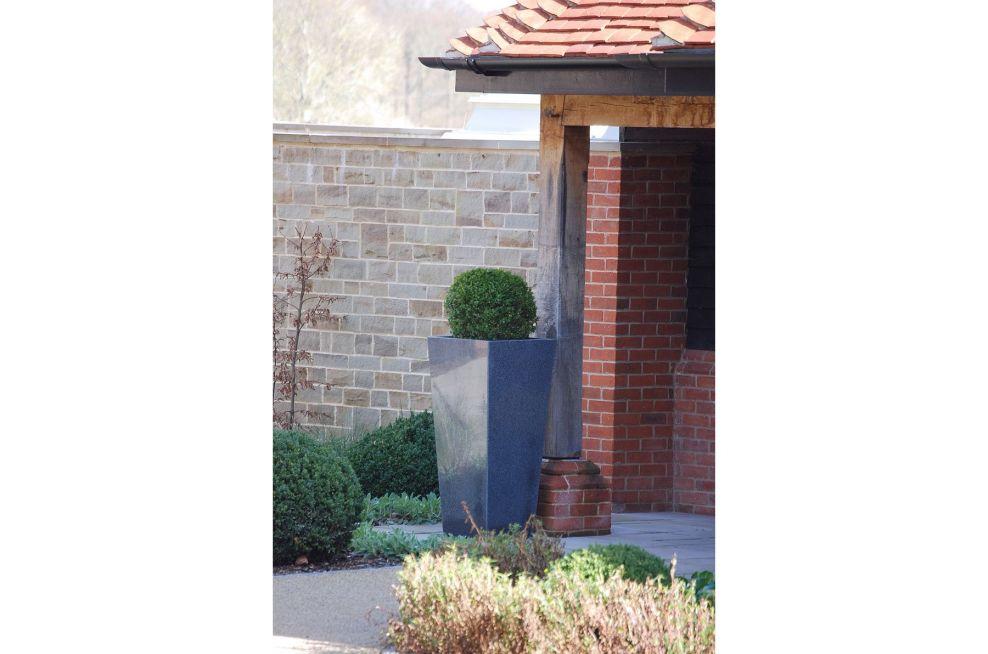 IOTA External Granite Taper 1100 Planter with Buxus Topiary