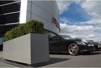 Bespoke Powder Coated Steel Planters at Porsche Centre Leicester