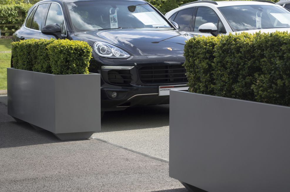 Close-up Of The Forecourt Powder Coated Planters