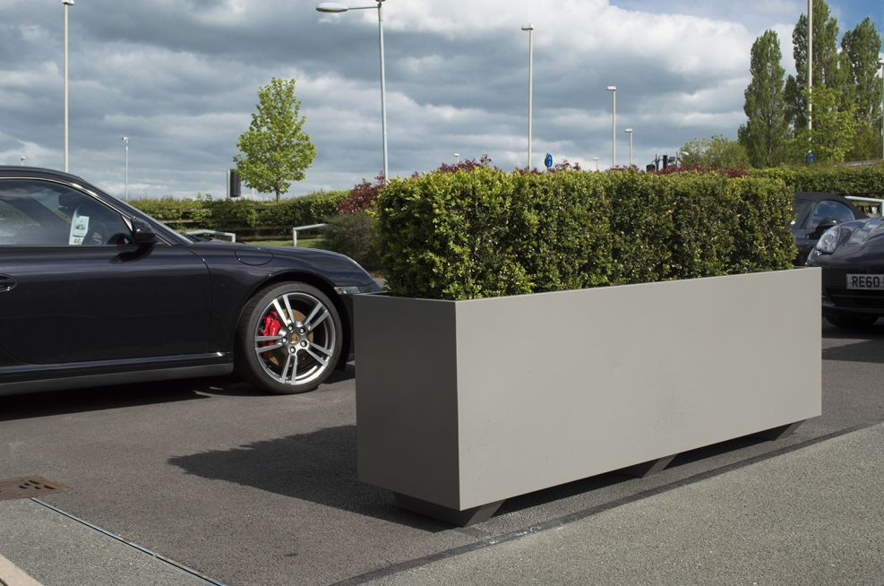 Zintec Steel Planters Powder Coated To RAL 9007 Grey Aluminium