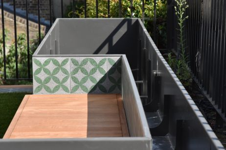 Bespoke Cladded Bench / Planter Combo At A London Garden Terrace