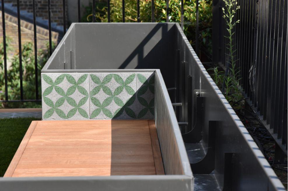 Bespoke Cladded Bench / Planter Combo At A London Garden Terrace